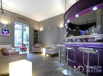 Дизайн лиловой кухни-гостиной в стиле ар-деко
