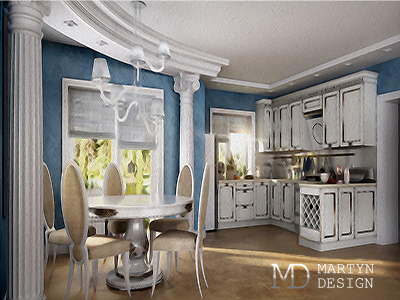 Воплощение дизайн-проекта столовой: эскиз и фото интерьера
