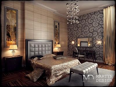Дизайн коричневой спальни в стиле арт-деко