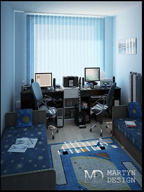 Дизайн красочной детской комнаты для двоих детей