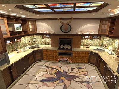 Дизайн кухни в эркере. Кухня с камином