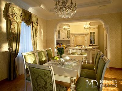 Весенняя свежесть в интерьере столовой-гостиной