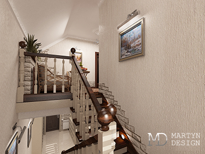 Декорирование коридоров и лестничных пролетов в доме в классическом доме