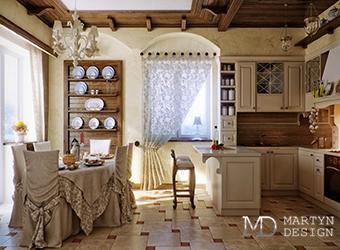 Дизайн гостиной и маленькой кухни в стиле прованс