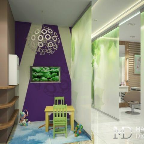 Дизайн комнаты для детей в салоне красоты