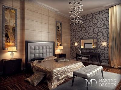 Дизайн золотистой спальни с камином в стиле арт-деко