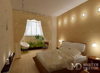 Дизайн-проект спальни в неоклассическом стиле. Перепланировка с присоединенной лоджией