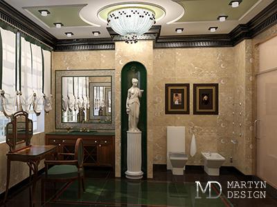 Дизайн и декор интерьера санузла в стиле арт-деко