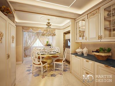 Дизайн гостиной и столовой в загородном доме