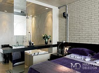 Дизайн лофтовой спальни с кирпичной кладкой