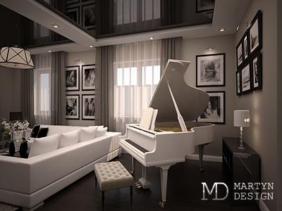 Дизайн гостиной с белым роялем