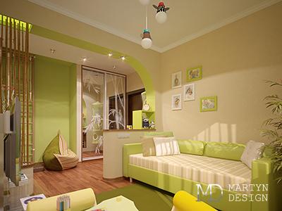 Дизайн бежево-зеленой детской комнаты с мотивами прованса