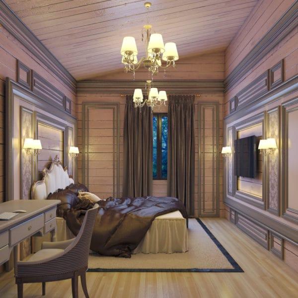 Дизайн интерьера деревянного загородного дома с элементами классики