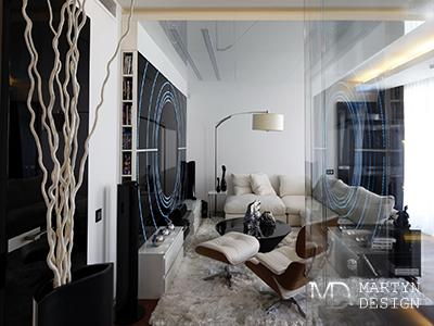 Дизайн гостиной с элементами футуризма