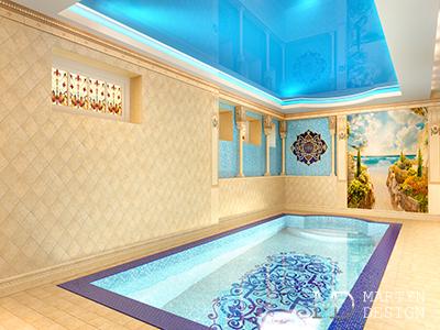 Дизайн интерьера бассейна в восточном стиле. Интерьер бассейна в загородном доме