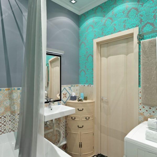 Дизайн ванной комнаты с плиткой пэчворк