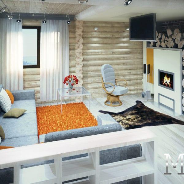 Дизайн интерьера в бревенчатом доме 170 кв. м.