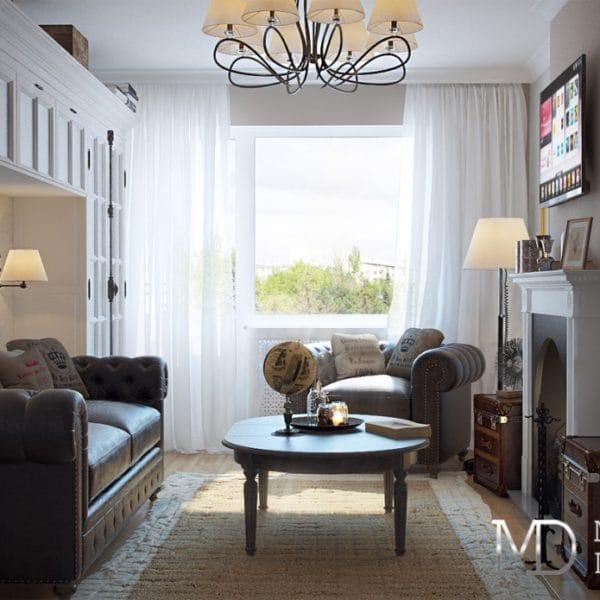 Дизайн двухкомнатной квартиры 70 кв. м в стиле прованс и нотками английской классики