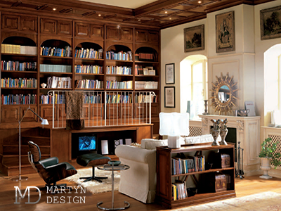 Дизайн гостиной-библиотеки для истинного аристократа