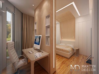 Дизайн интерьера бежевой спальни-кабинета