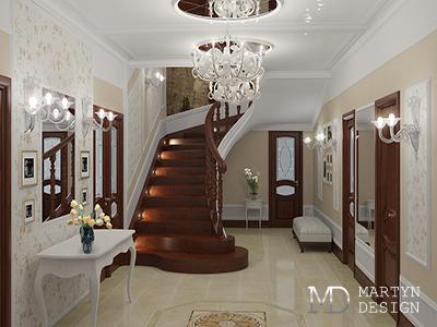 Дизайн интерьера бордовой прихожей в стиле арт-деко
