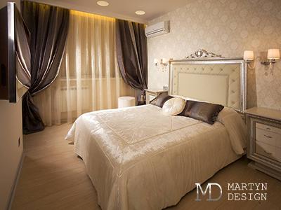 Дизайн бежевой спальни в классическом стиле