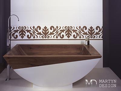 Дизайн интерьера ванной комнаты в древесных тонах