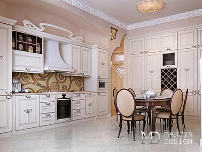 Дизайн кухни с элементами ар-деко и футуристического стиля