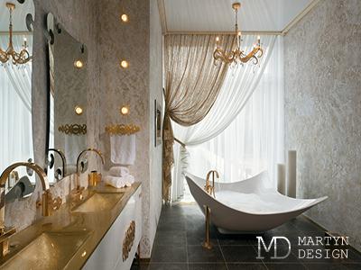 Дизайн интерьера ванной комнаты в стиле ар-деко