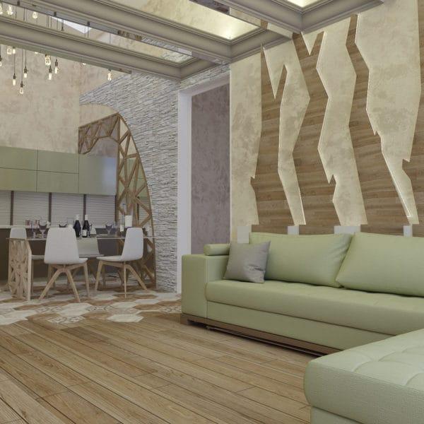Дизайн интерьера загородного дома в стиле фьюжн