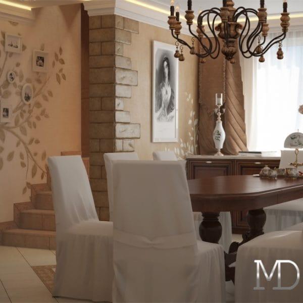 Дизайн-проект кухни-столовой в классическом стиле