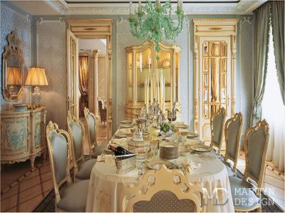 Дизайн гостиной-столовой в стиле ампир