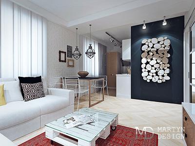Дизайн кухни-гостиной в квартире в скандинавском стиле