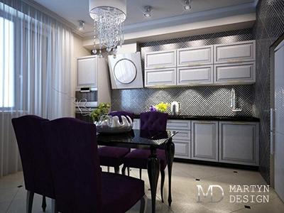 Дизайн кухни-гостиной в стиле ар-деко