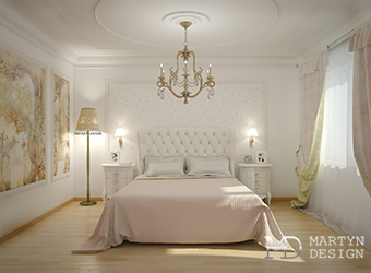 Классический интерьер персиково-сиреневой спальни