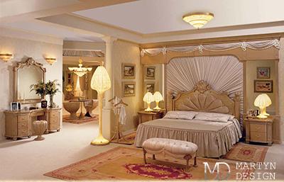 Винтажный интерьер бежево-коричневой спальни