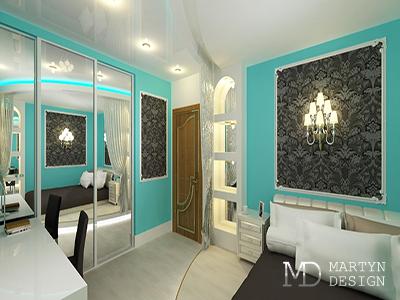 Дизайн интерьера просторной бирюзовой спальни