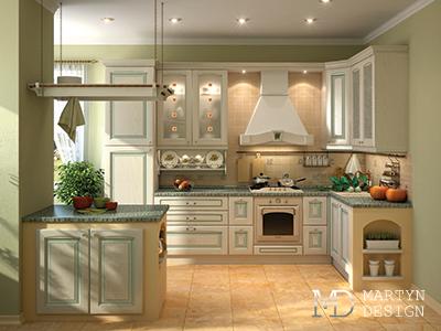 Дизайн интерьера светло-зеленой кухни в стиле прованс