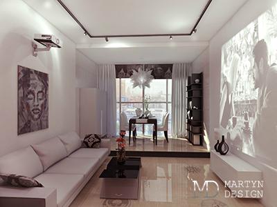 Дизайн белой гостиной в квартире