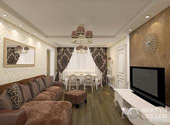 Легкая классика в дизайне гостиной в квартире