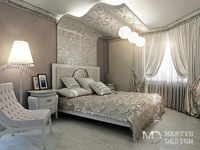 Дизайн интерьера серебристой спальни