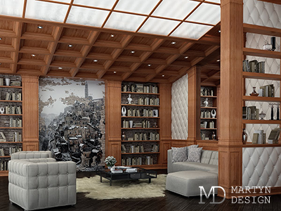 Дизайн интерьера солидной гостиной-библиотеки в английском стиле