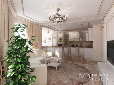 Дизайн кухни-гостиной в стиле средиземноморской неоклассики
