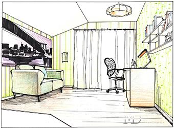 Эскиз интерьера детской комнаты для мальчика