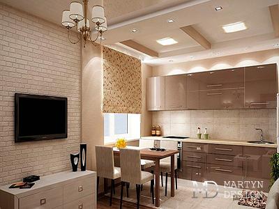 Дизайн кухни-столовой в бежево-коричневых тонах