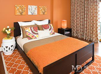 Осенние краски в интерьере спальни