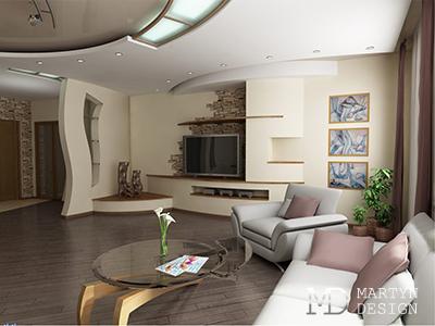 Дизайн гостиной-столовой для квартиры свободной планировки