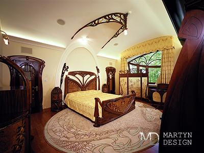Дизайн интерьера спальни в стиле ар-нуво
