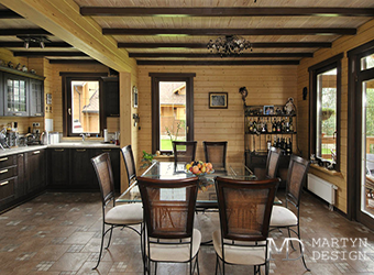 Интерьер загородного дома из клееного бруса: советы дизайнеров
