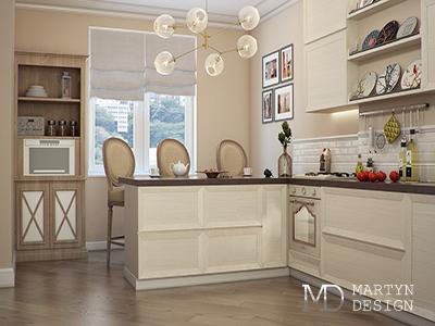 Дизайн кухни-столовой в бело-бежевых тонах
